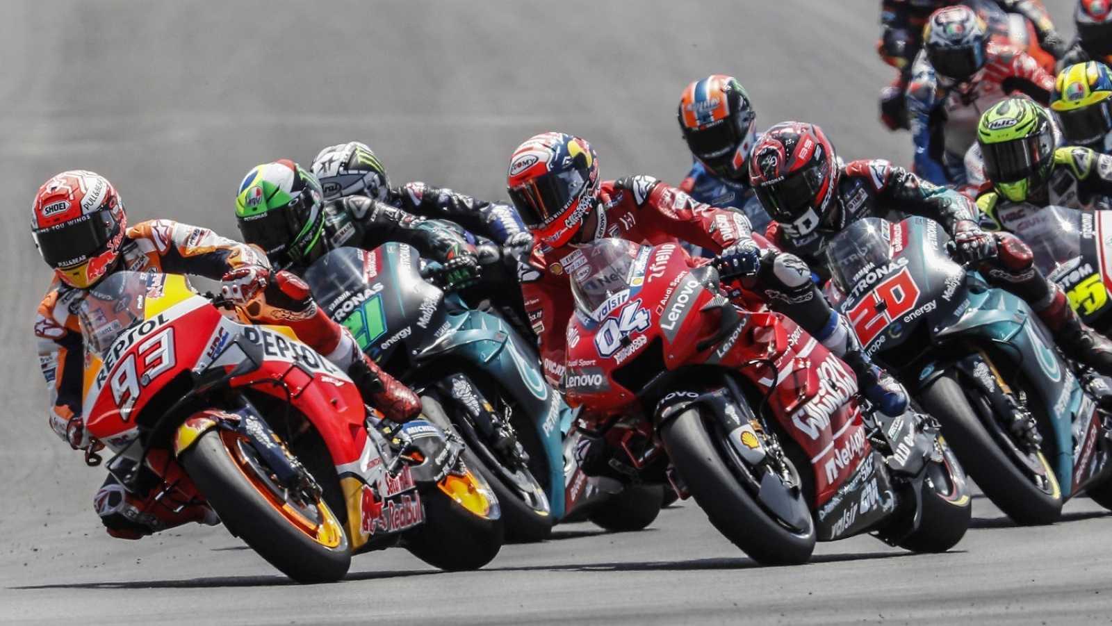 Un momento de la carrera de MotoGP en el Gran Premio de España disputado en el circuito de Jerez de la Frontera.