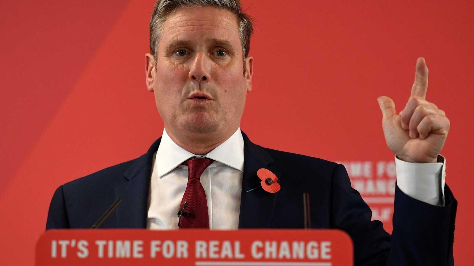 Keir Starmer nuevo líder del Partido Laborista británico en un acto en Harlow, norte de Londres, en noviembre de 2019, cuando era todavía responsable del laborismo para el Brexit