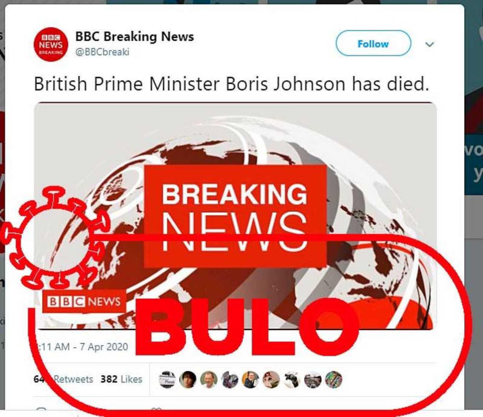 Captura con la imagen del bulo sobre la muerte del primer ministro británico.