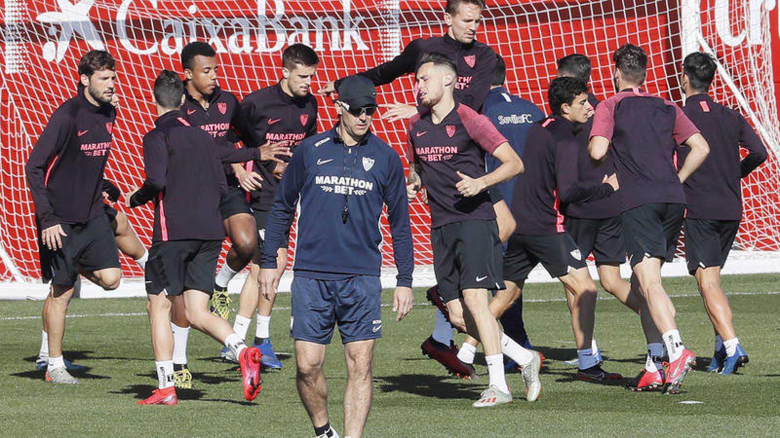 Imagen de un entrenamiento del Sevilla FC