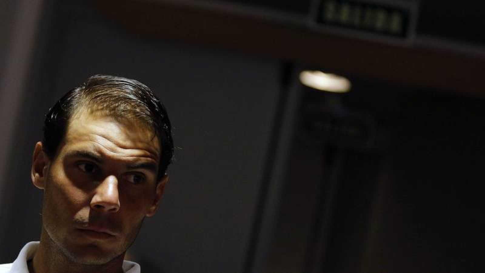 El tenista Rafa Nadal, ofrece una rueda de prensa durante el Mutua Madrid Open que se disputó en la Caja Mágica en 2019.