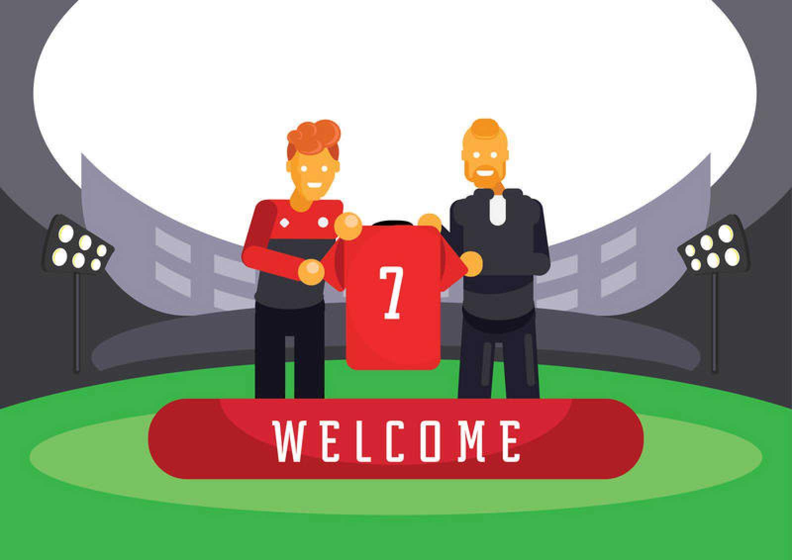 Ilustración digital de la presentación de futbolista tras su fichaje por un equipo