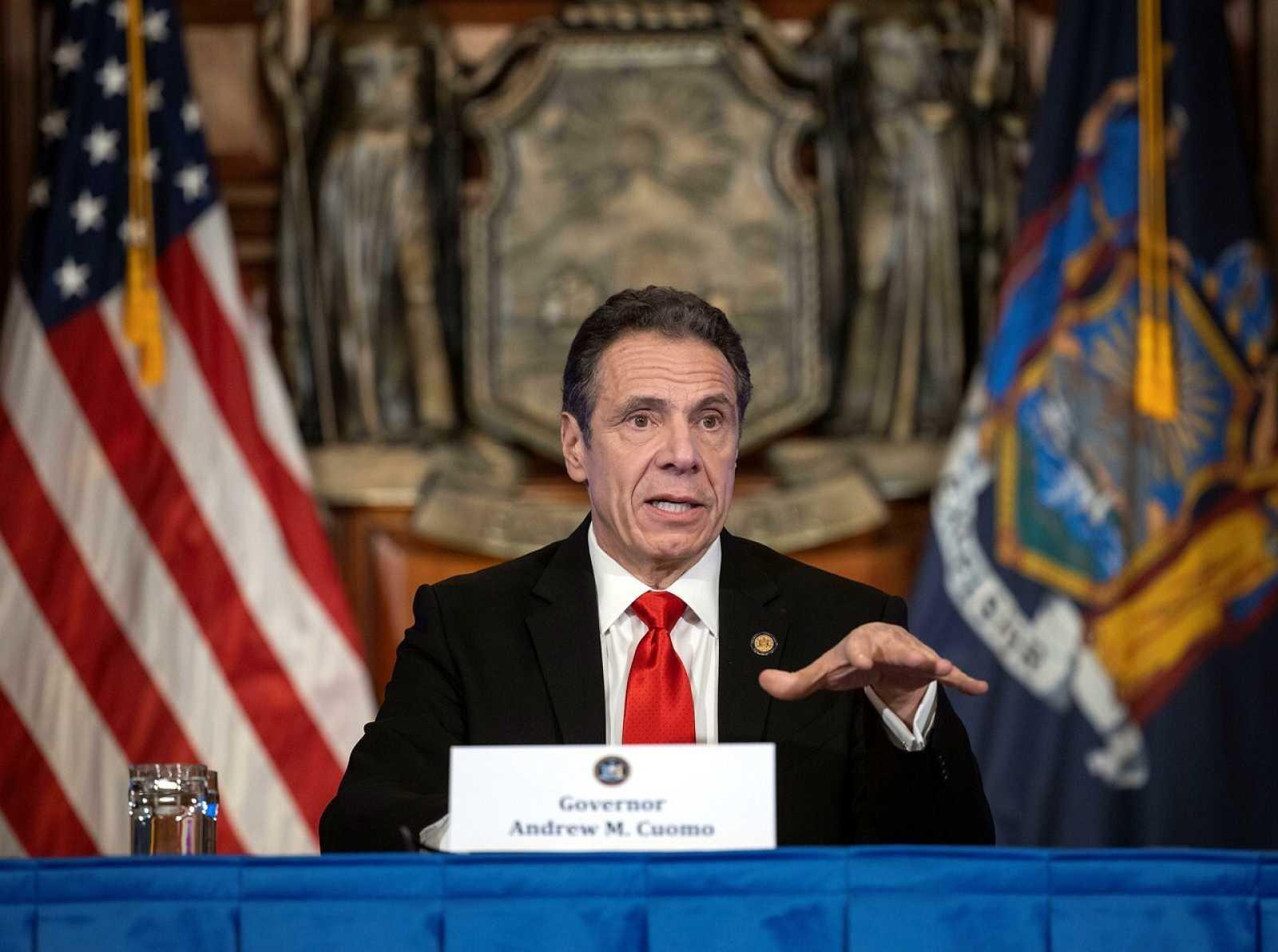 El gobernador de Nueva York, Andrew Cuomo, durante una de sus ruedas de prensa diarias