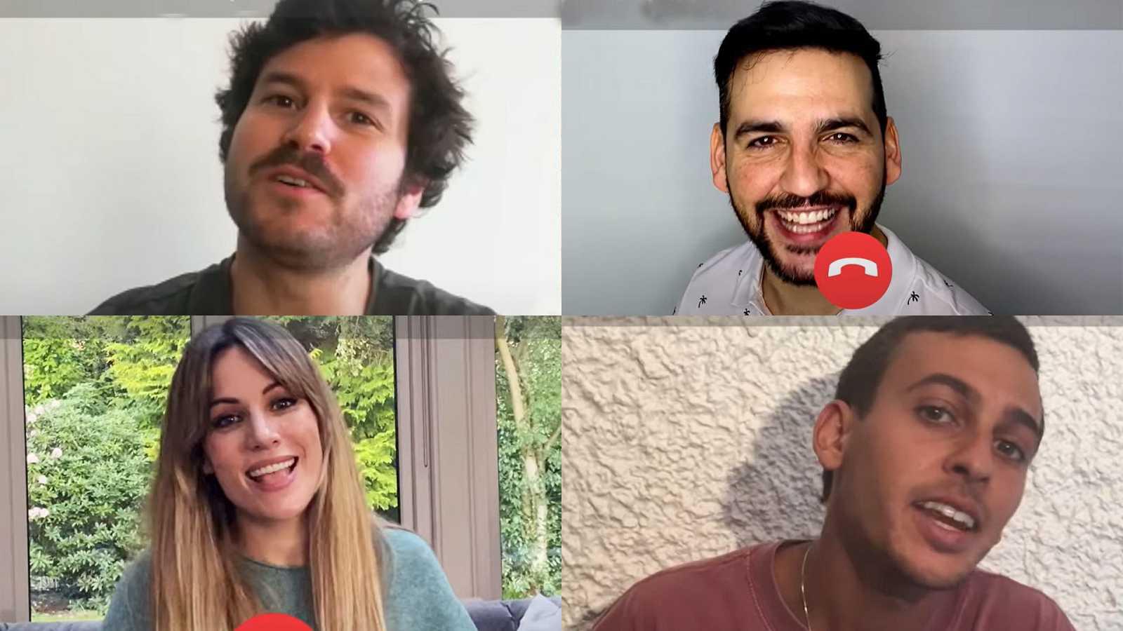 """Guillermo Bárcenas, Fran Perea, Edurne y Antón Carreño en la grabación de """"Quiero abrazarte, cuando todo esto acabe"""""""