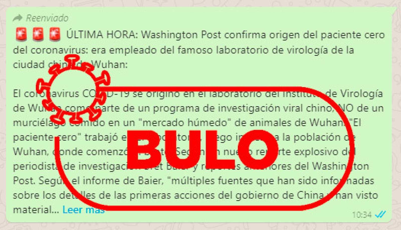 Captura del bulo sobre la información falsamente atribuida al Whashington Post.