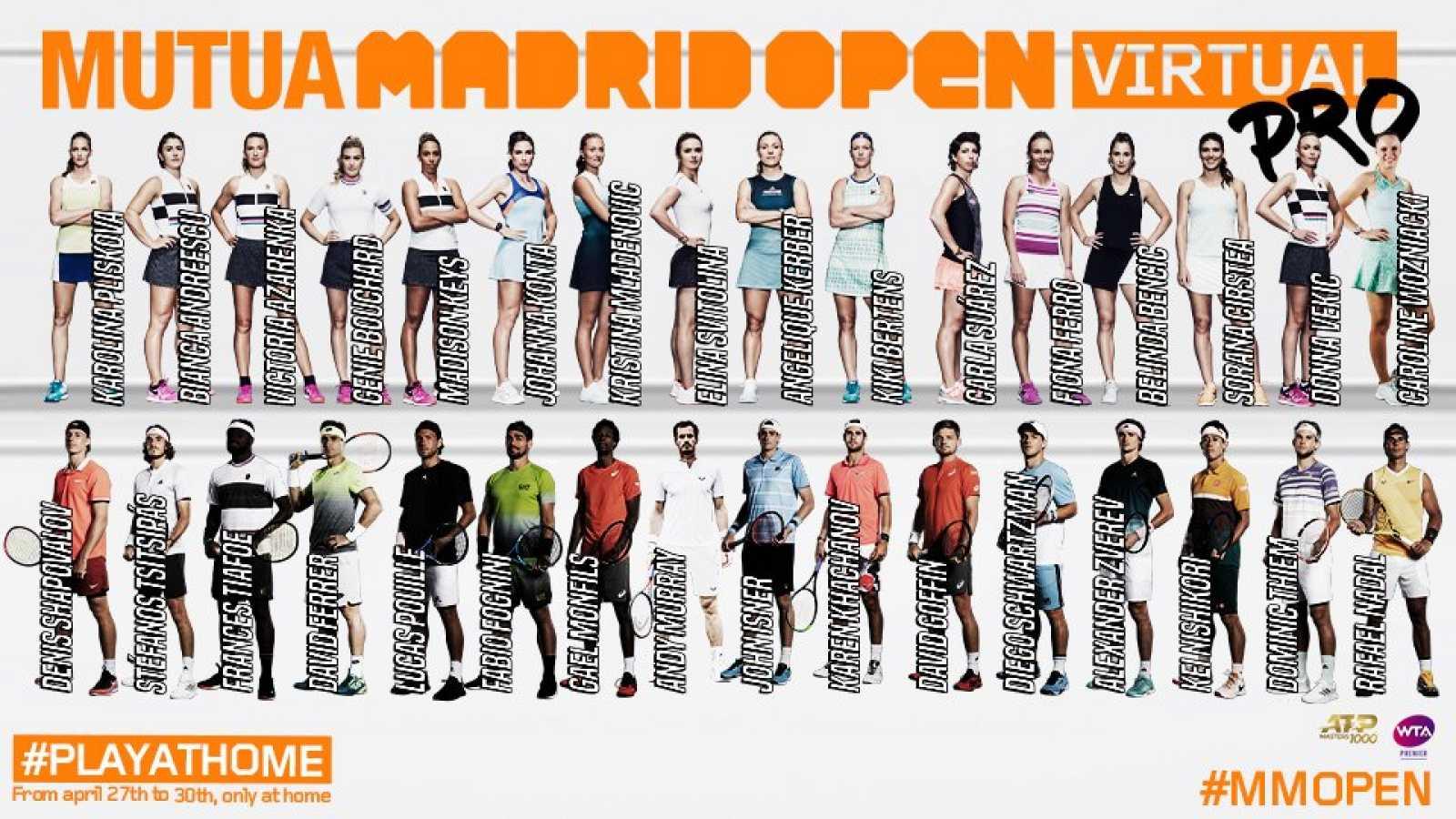 Imagen: Tenistas participantes en el Mutua Madrid Open virtual