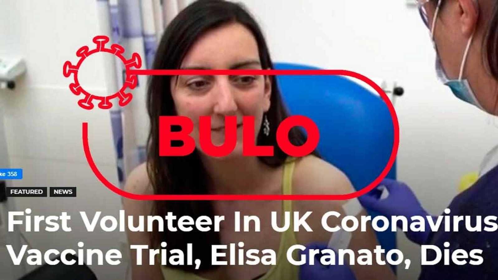 Captura de la imagen que ilustra el bulo sobre la muerte de la persona que se sometió a la vacuna del coronavirus
