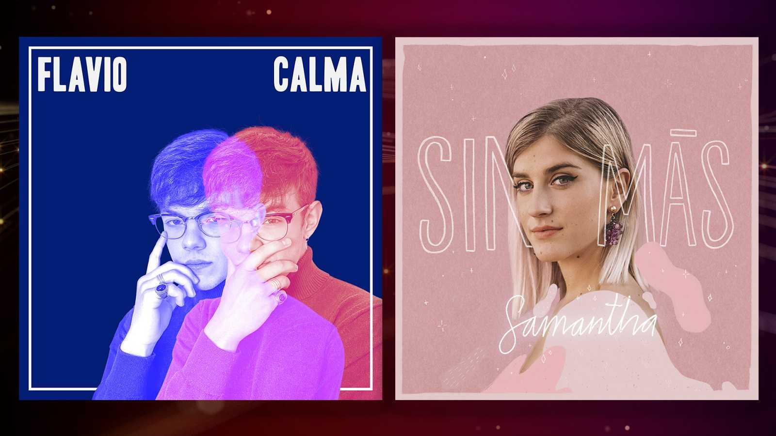 """Portadas de """"Calma"""" y """"Sin más"""", los singles de Flavio y Samantha respectivamente"""