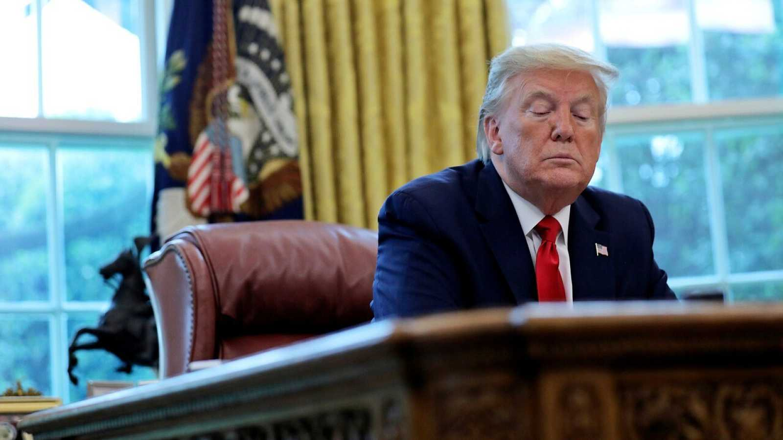 Donald Trump en el Despacho Oval durante la entrevista