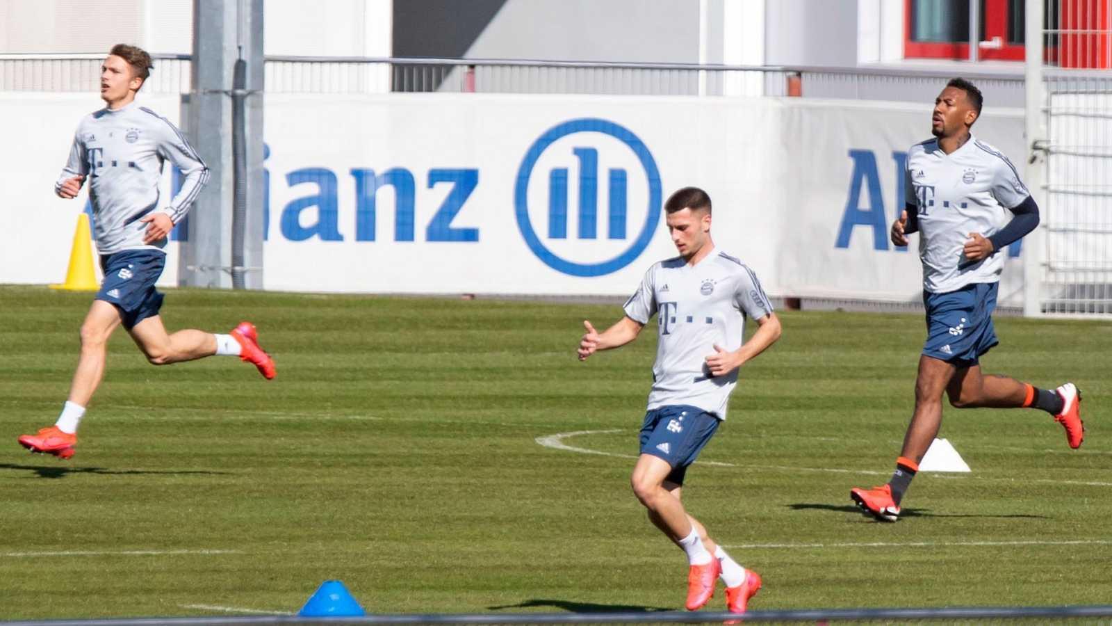 Varios jugadores del Bayern de Múnich durante un entrenamiento