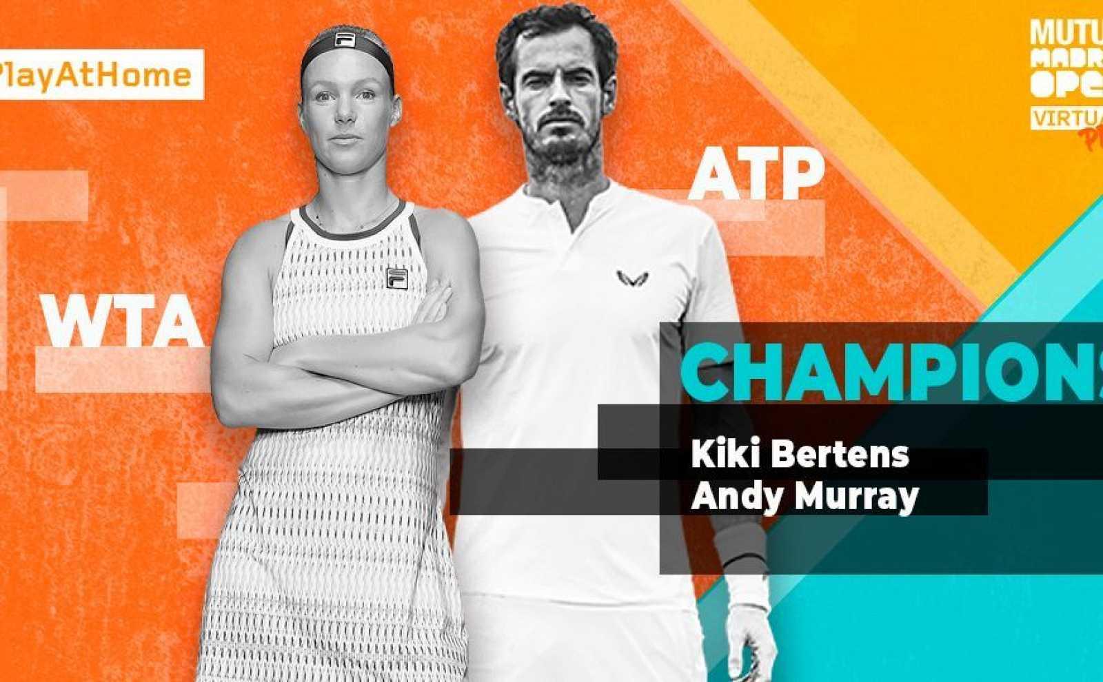 Imagen d elos dos vencedores del Mutua Madrid Open Virtual Pro: Andy Murray y Kiki Bertens.