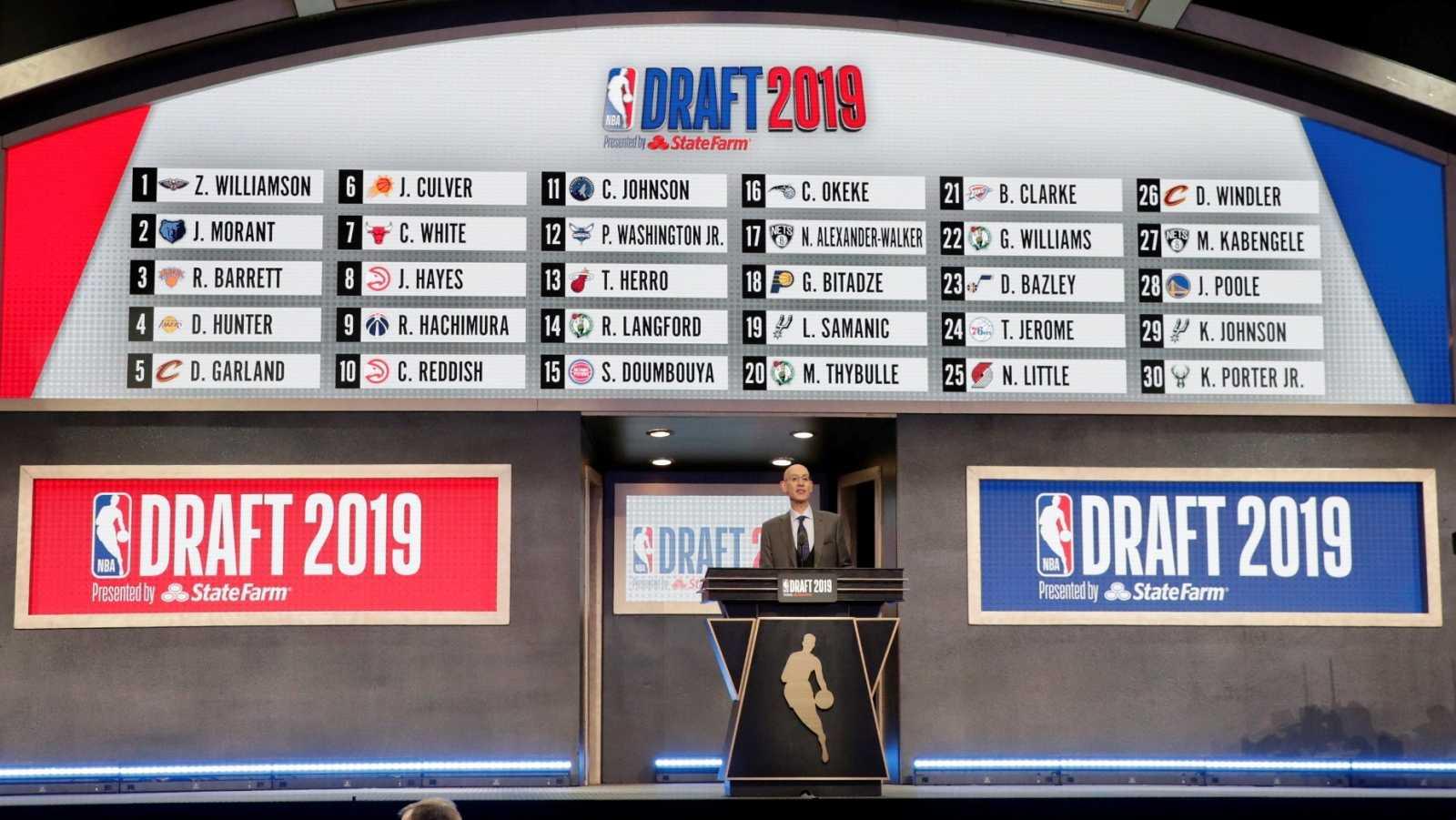 Adam Silver, comisionado de la NBA, en el draft 2019