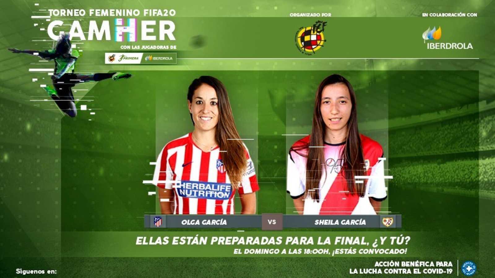 Imagen promocional de la final del torneo GamHer que enfrentará a Olga García, jugadora del Atlético de Madrid y a Sheila García, jugadora del Rayo Vallecano