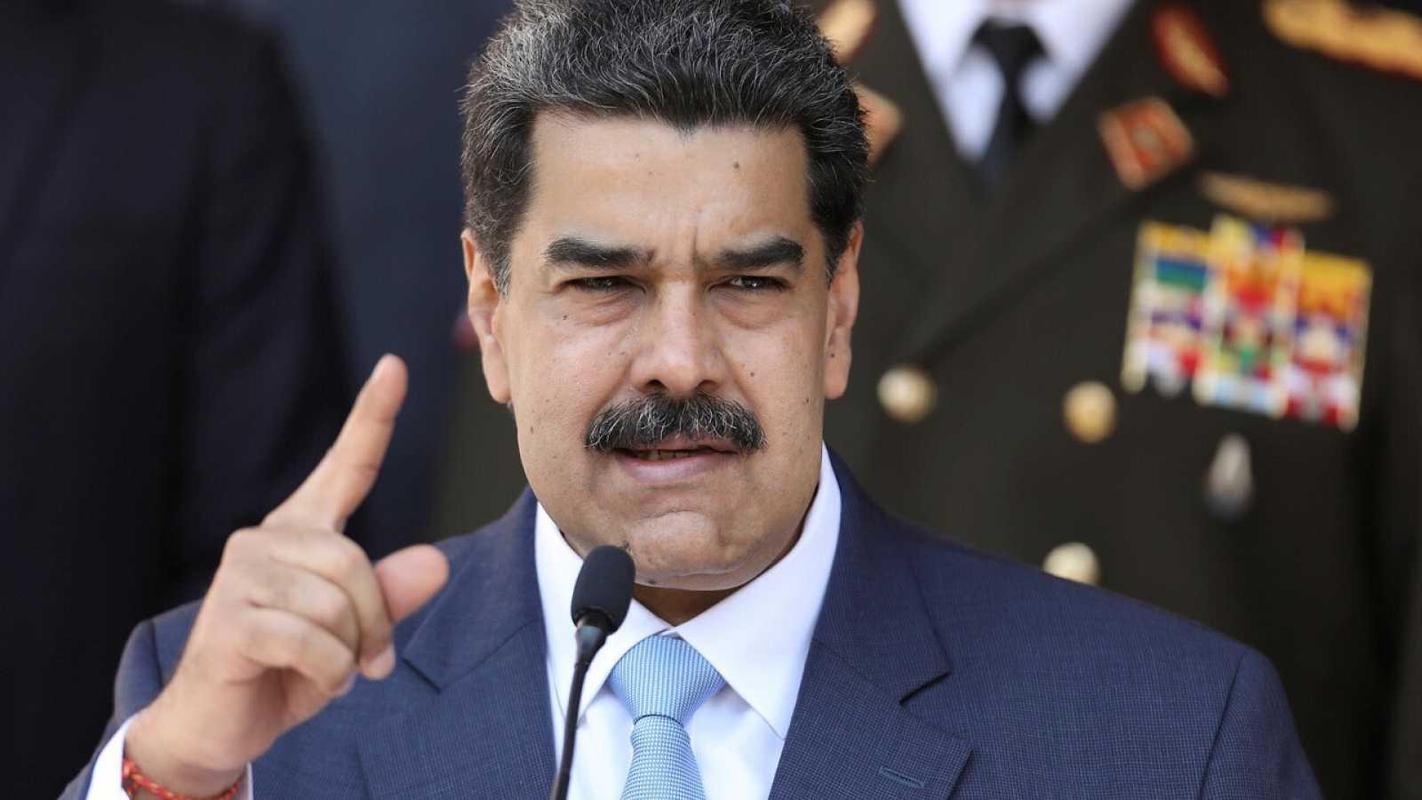 Nicolás Maduro durante una rueda de prensa en el Palacio de Miraflores