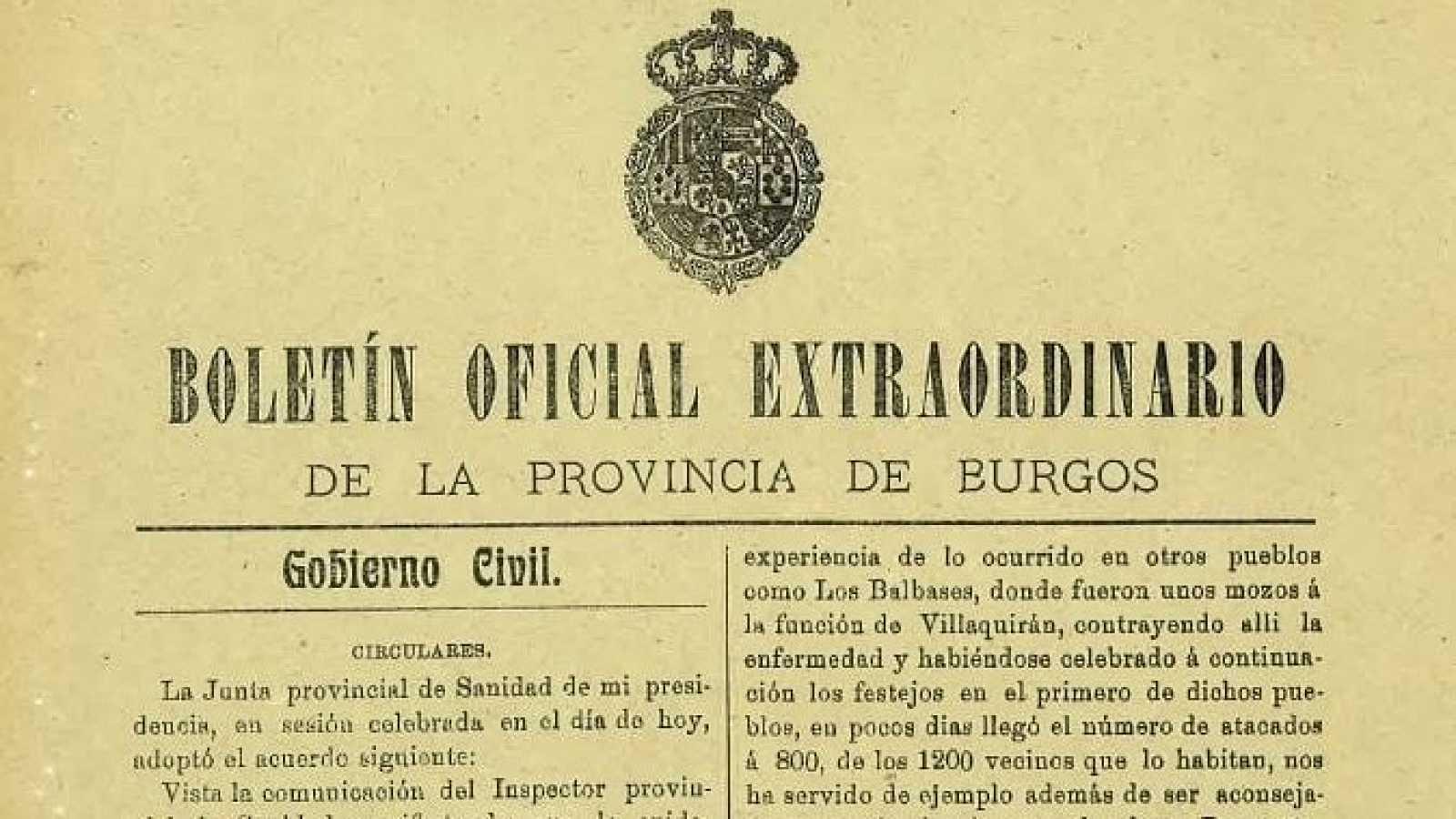 Imagen del Boletín Oficial Extraordinario de la provincia de Burgos correspondiente a 1918.