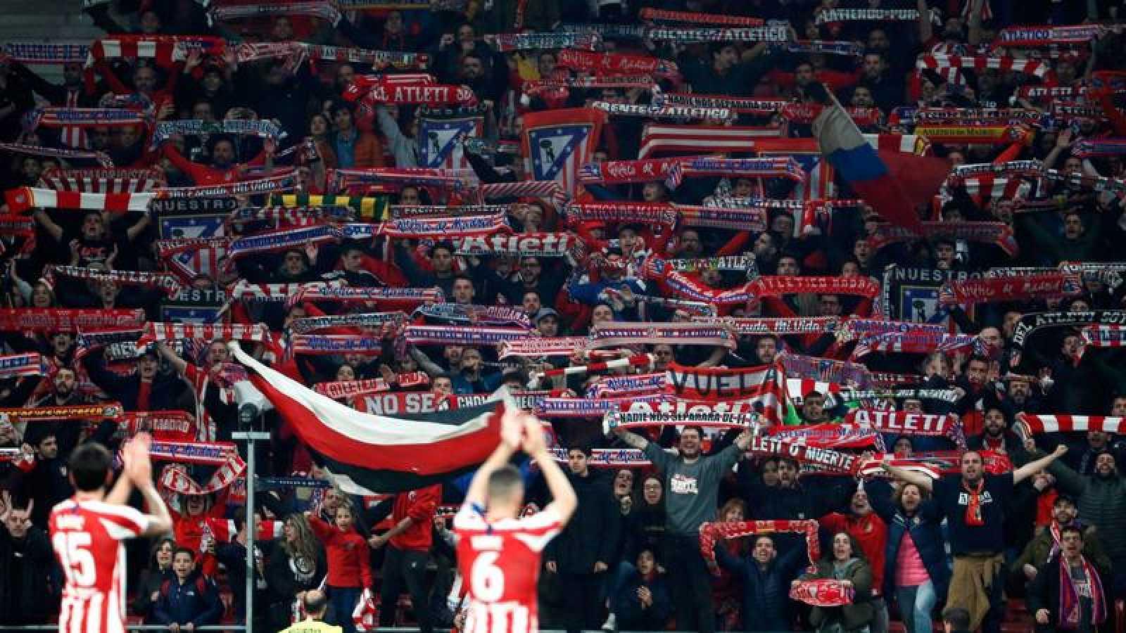 La afición del Atlético, en el Wanda Metropolitano.