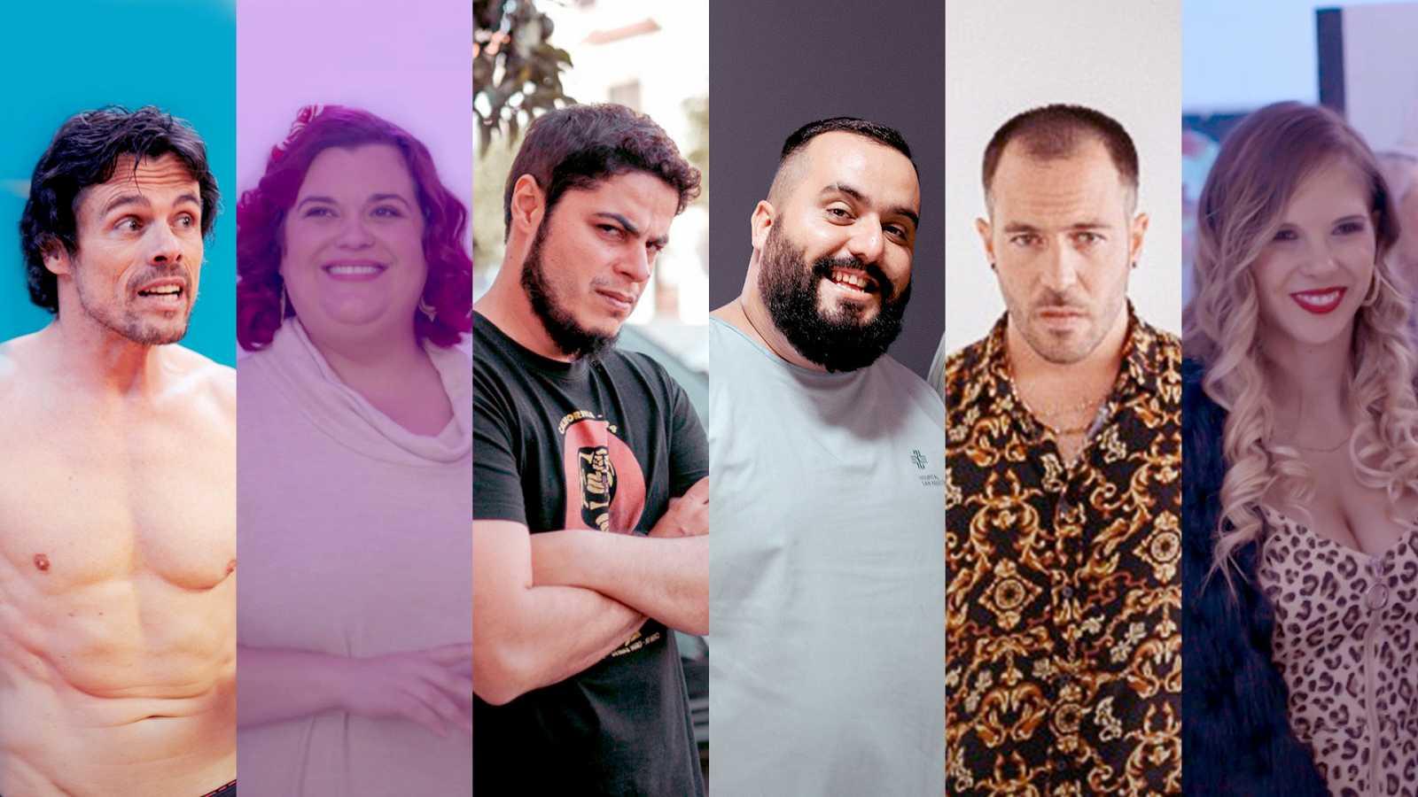 De izq. a dcha. Octavi Pujades, Lola Hernández, David Sainz, Kike Pérez,Diego Villalba yPatricia Toro, parte del elenco de 'Grasa'