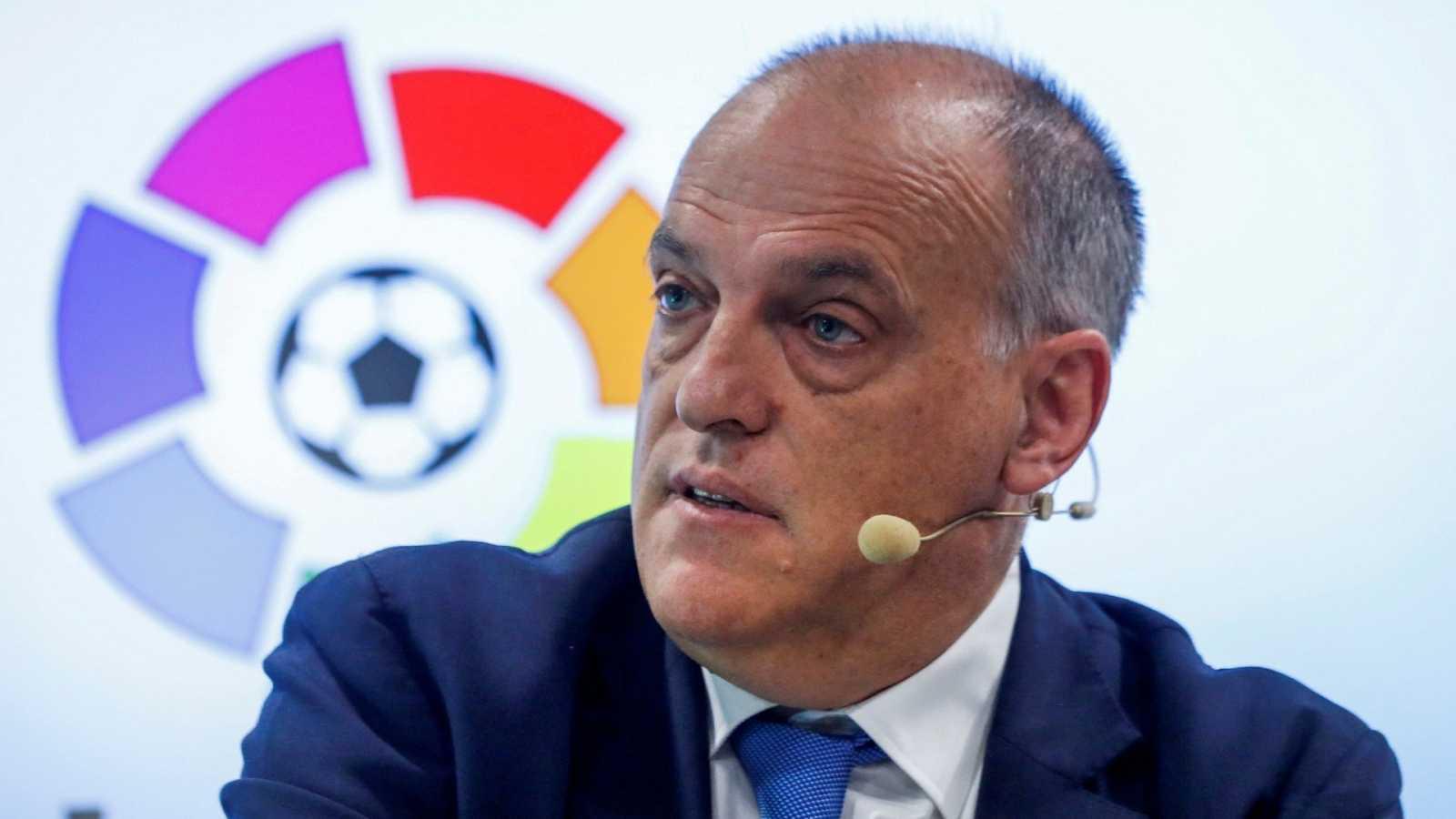 Javier Tebas, durante una rueda de prensa de LaLiga