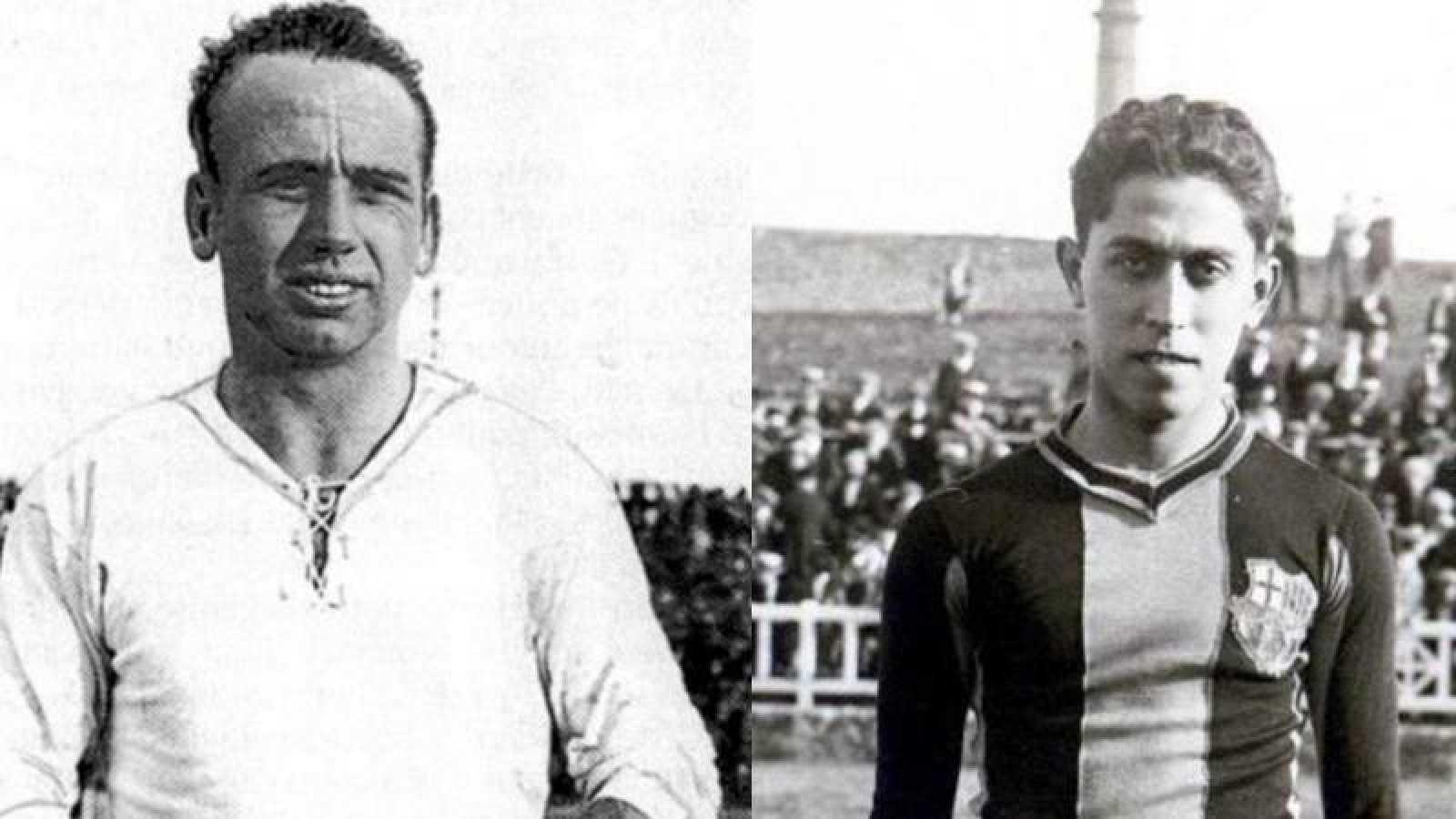 Fotomontaje de los jugadores históricos de Madrid y Barcelona René Petit y Paulino Alcántara.
