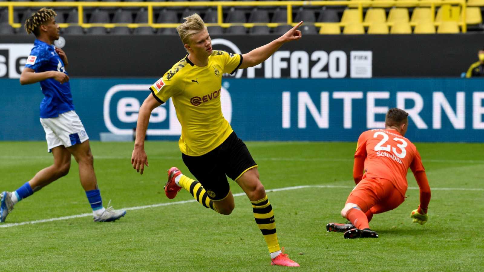 Imagen: Haaland celebra el primer gol del partido