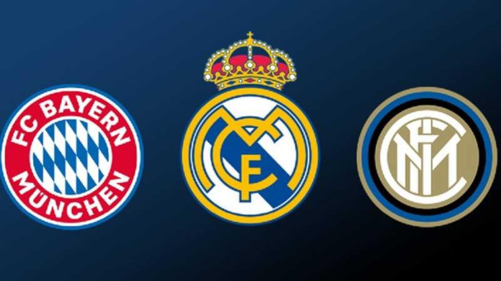 Escudos de Inter de Milán, Real Madrid y Bayern de Múnich.