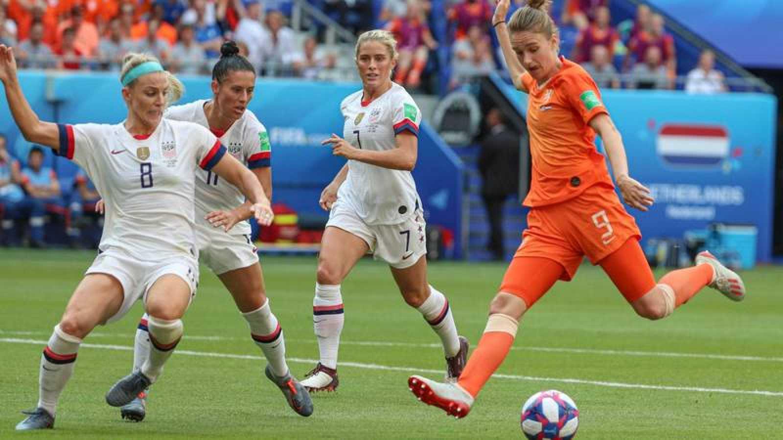Imagen de la final del Mundial femenino entre Estados Unidos y Holanda en 2019.
