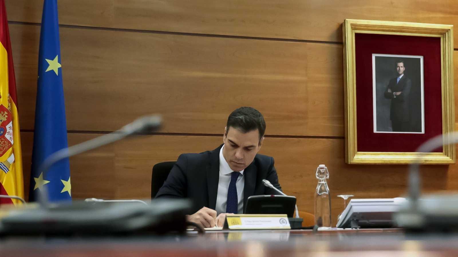 El presidente del Gobierno, Pedro Sánchez, durante el Consejo de Ministros