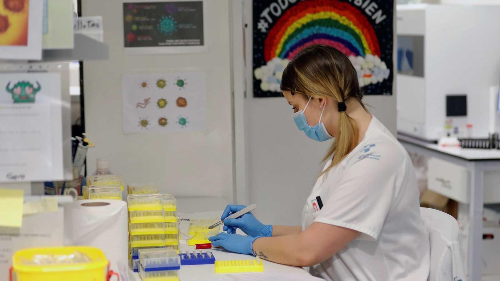 Técnicos sanitarios del Hospital Universitario Central de Asturias (HUCA), trabajan en el interior de la cabina de seguridad del laboratorio de virología de este centro de referencia del Principado.