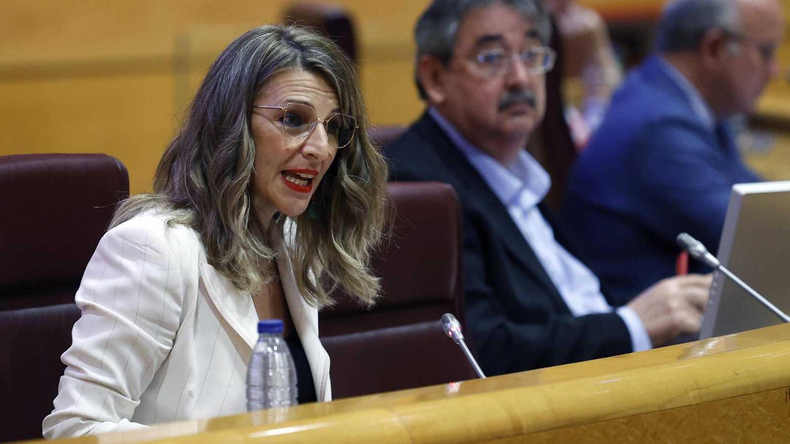 La ministra de Trabajo y Economía Social, Yolanda Díaz, durante su comparecencia este lunes en la comisión correspondiente del Senado