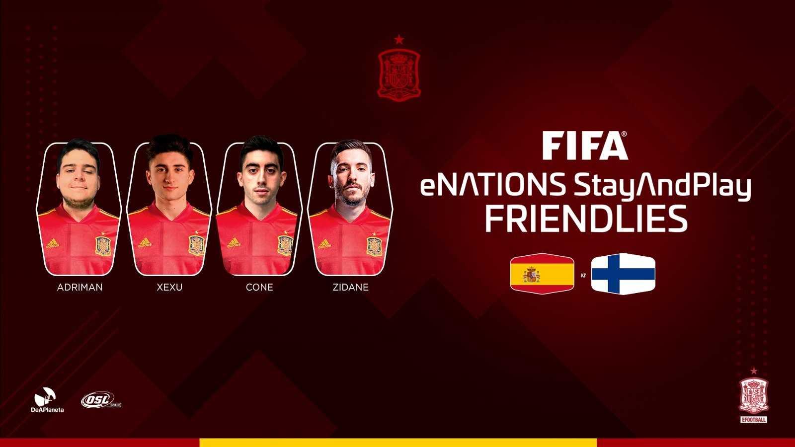 Los jugadores profesionales de FIFA, Adriman, Xexu, Cone y Zidane10, que representarán a España en el partido de 'efootball' contra Finlandia