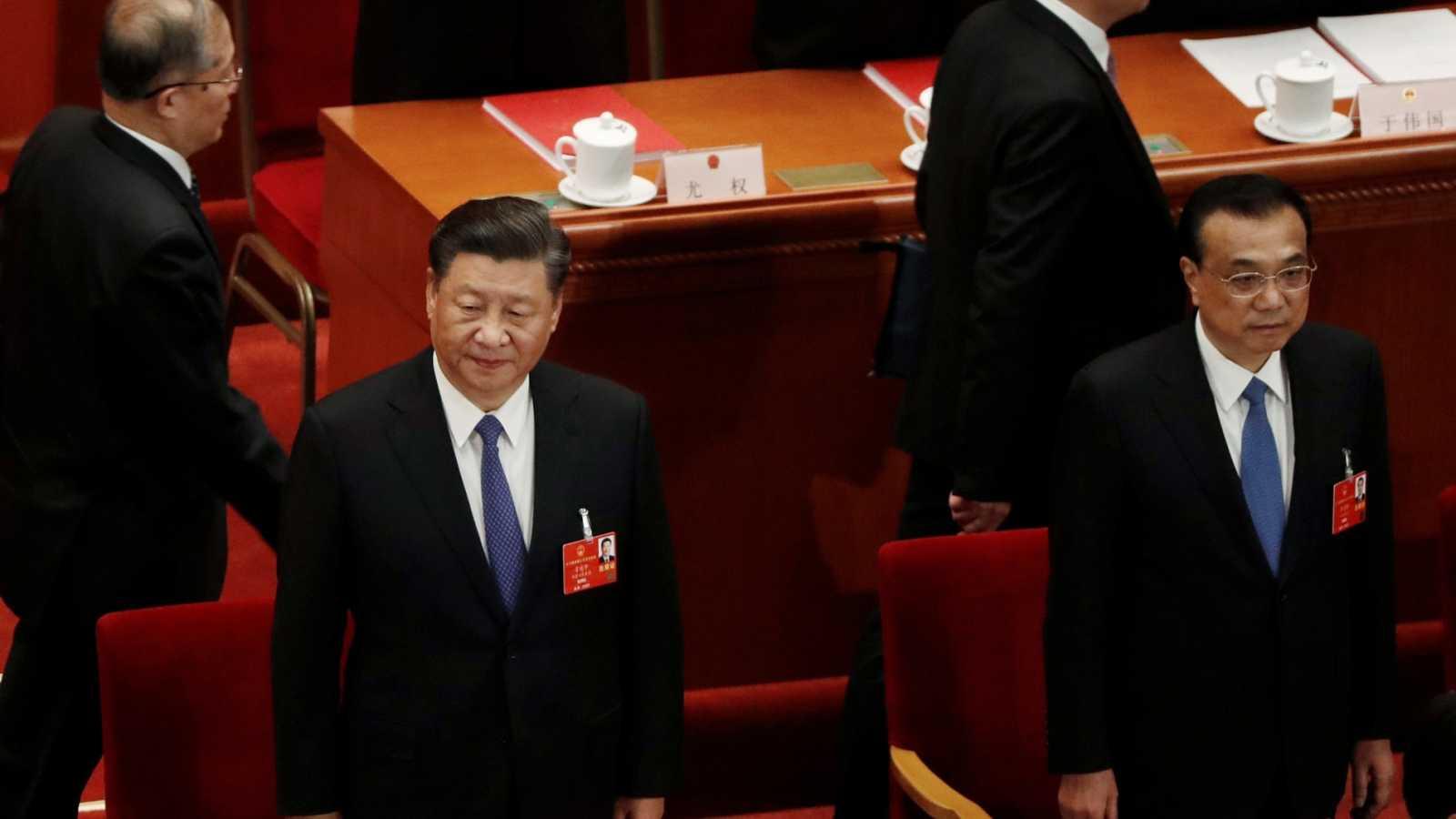 El presidente chino, Xi Jinping y el primer ministro Li Keqiang, en la Asamblea Nacional Popular de China, en Beijing.