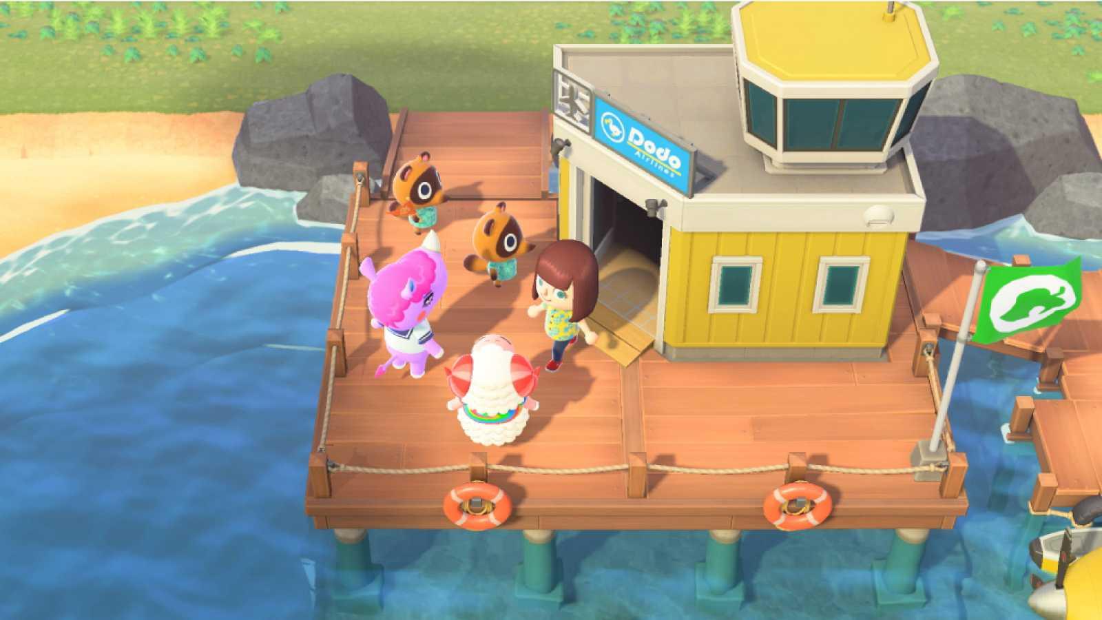 Vista del puerto de Animal Crossing: New Horizons