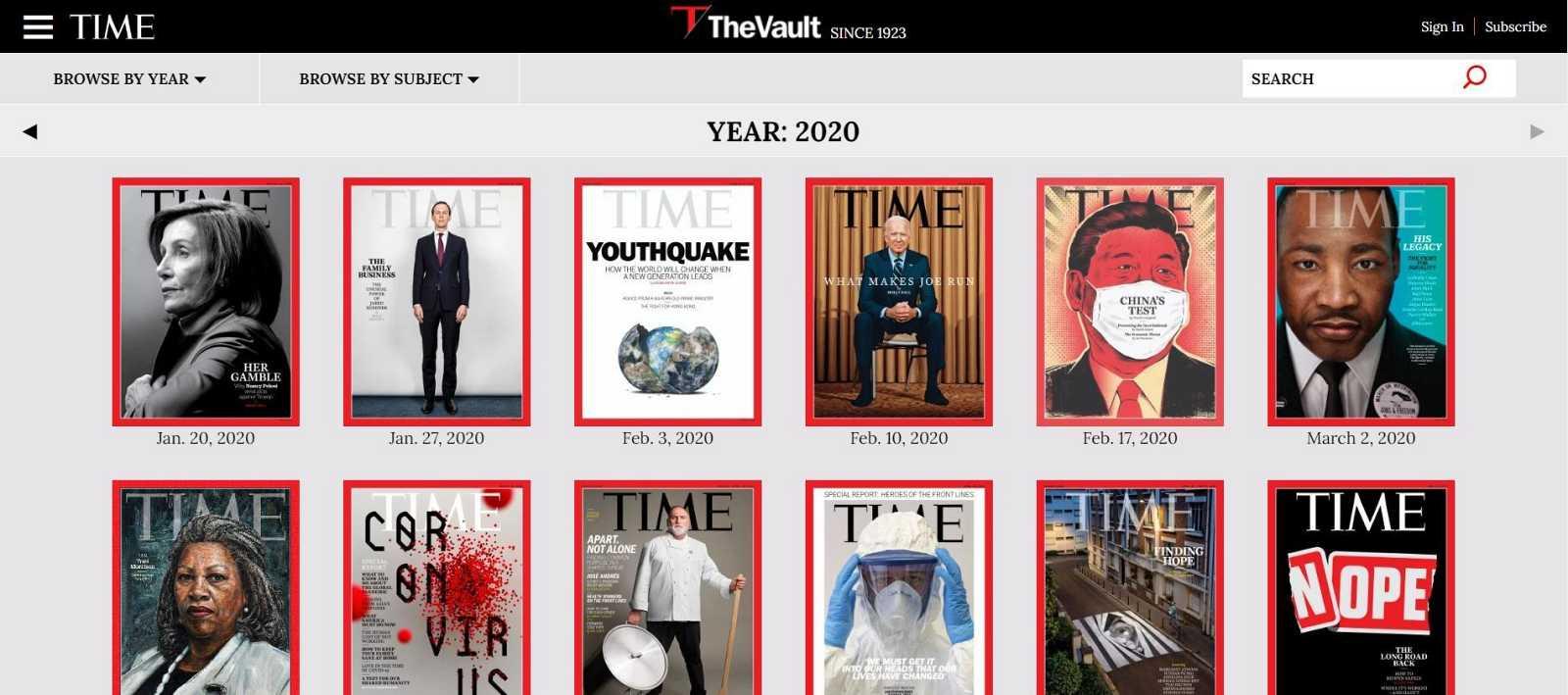 """En la propia página de """"Time"""" en la sección """"The Vault"""", podemos consultar las portadas publicadas por la revista desde 1923"""