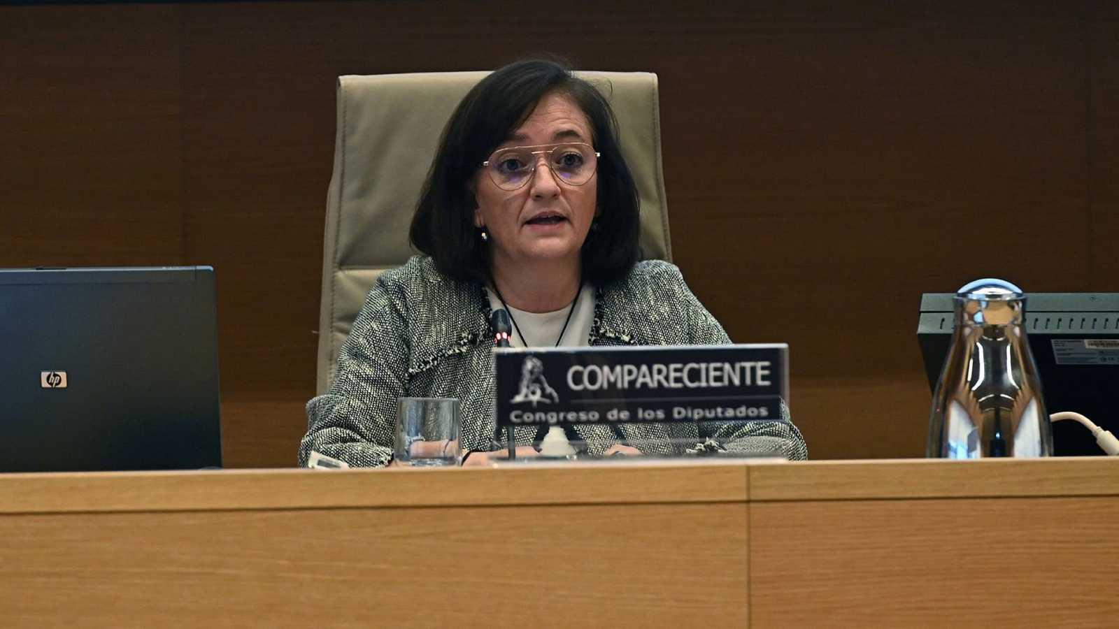 La presidenta de la Autoridad Independiente de Responsabilidad Fiscal (AIReF), Cristina Herrero, durante su comparecencia en el Congreso