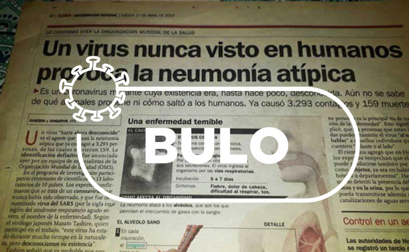 Captura del diario Clarín correspondiente a 2003 en el que se habla del coronavirus SARS con el sello de bulo.