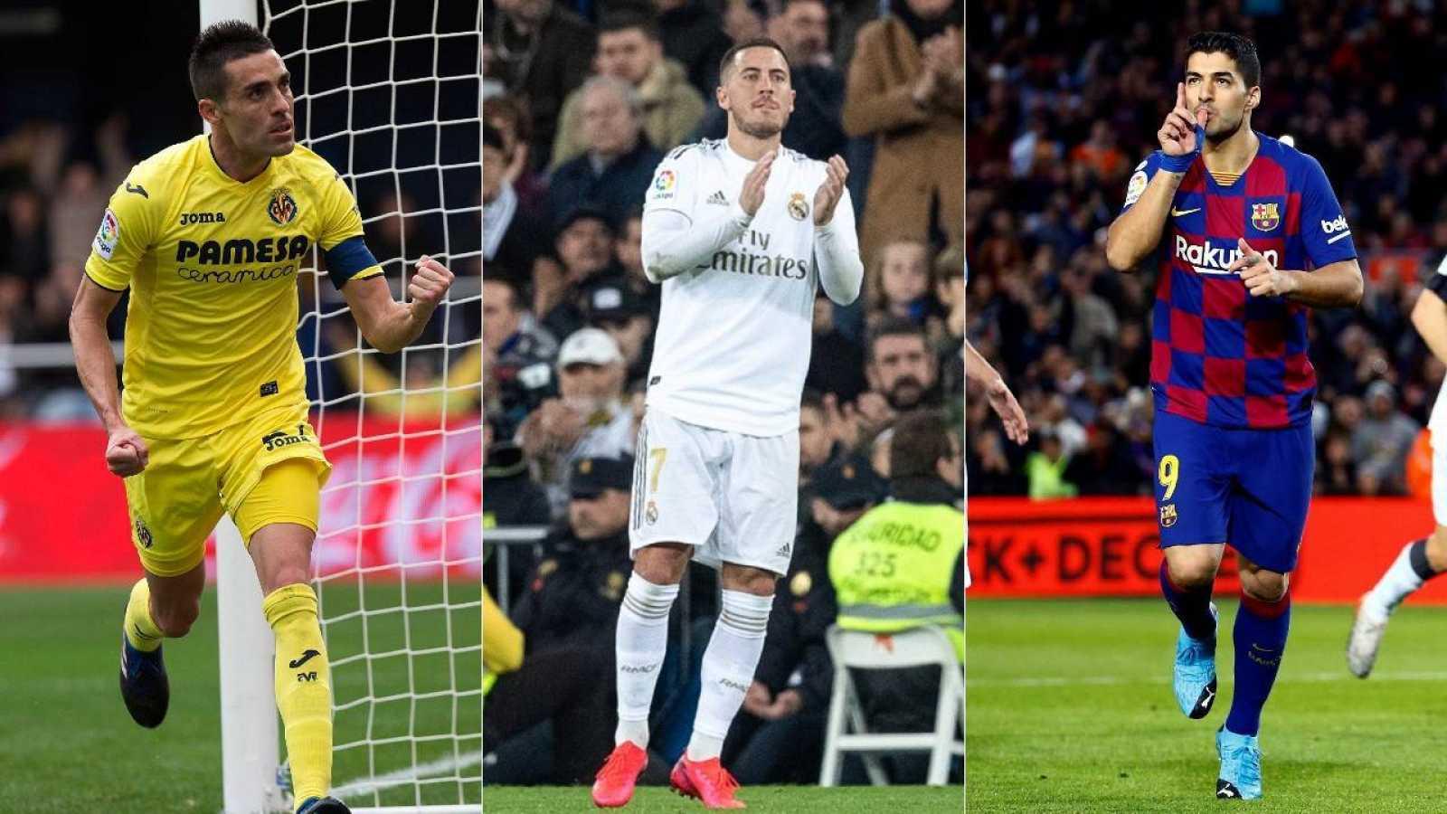 Bruno Soriano (i), Eden Hazard (c) y Luis Suárez (d) han acelerado su recuperación durante el parón por coronavirus