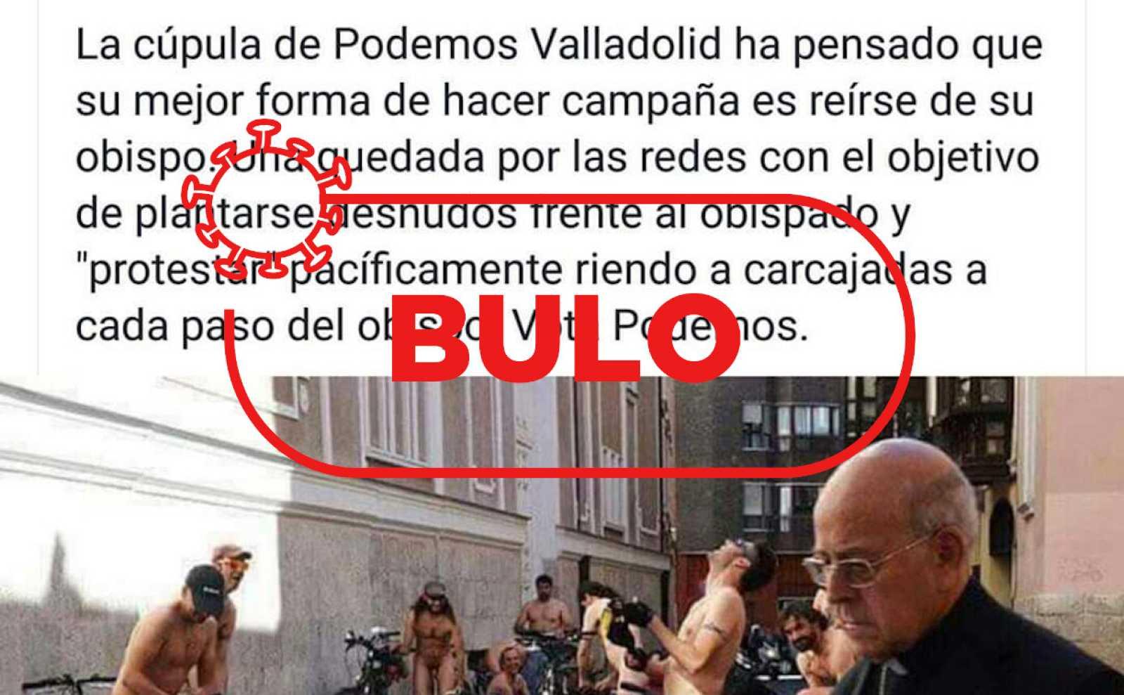 Captura del tuit en el que se asocia la fotografía del arzobispo y los ciclistas nudistas con una protesta de Podemos contra la Iglesia.