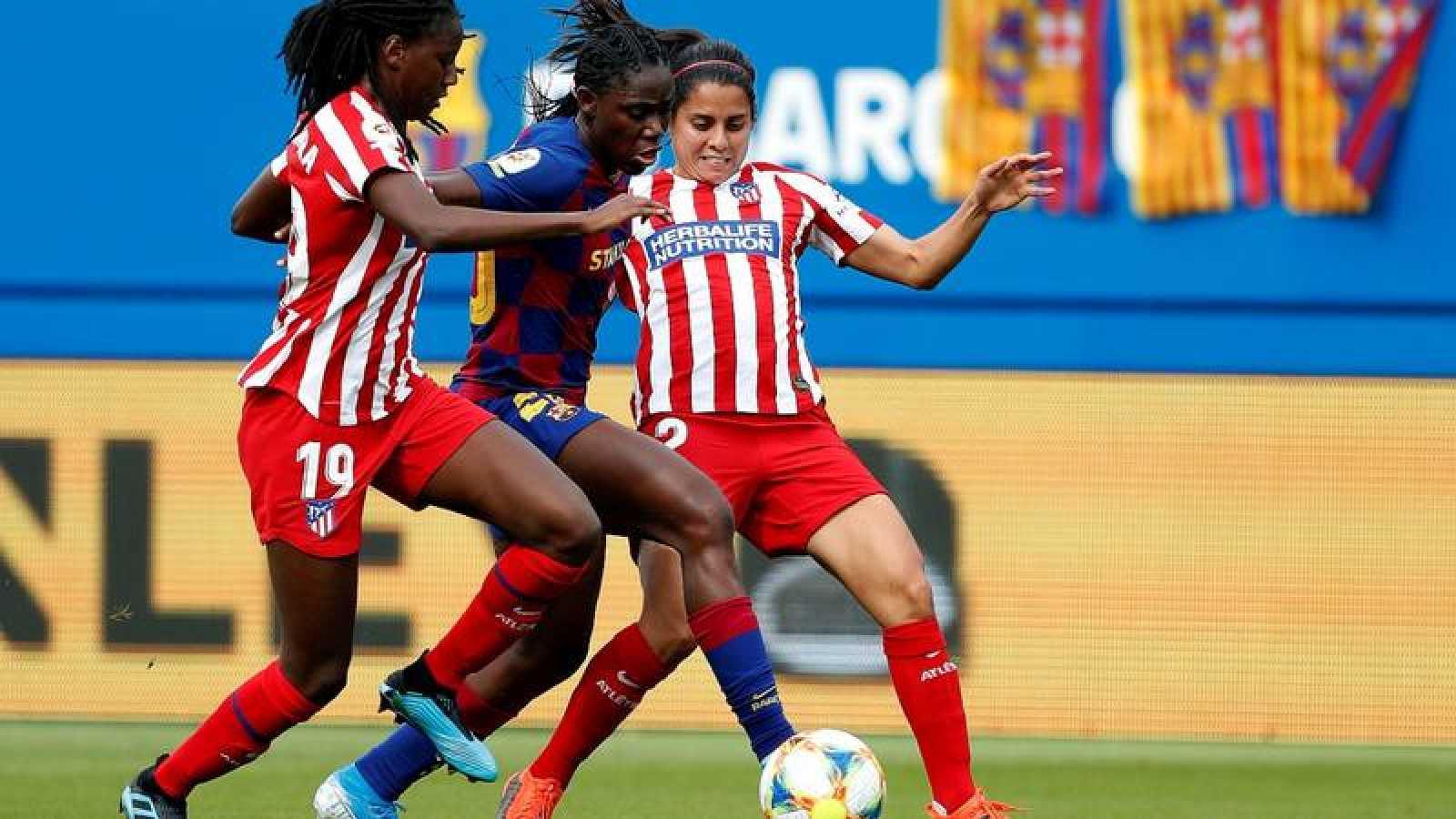 Imagen del partido entre el Atlético de Madrid y el FC Barcelona de la Liga Iberdrola femenina.