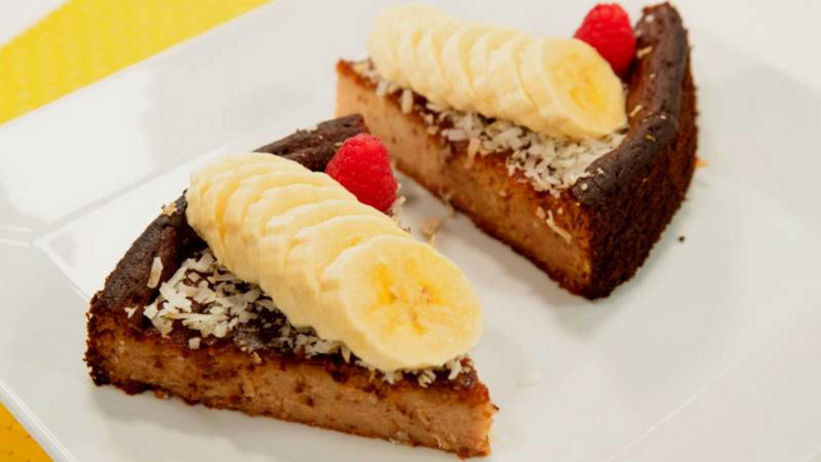 Tarta de plátano y requesón