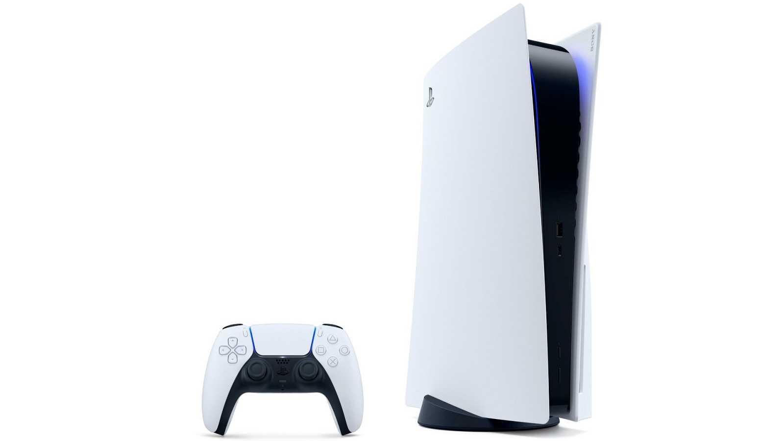 La nueva PlayStation 5 (PS5), bicolor y vertical, cuyo precio no ha sido desvelado por Sony