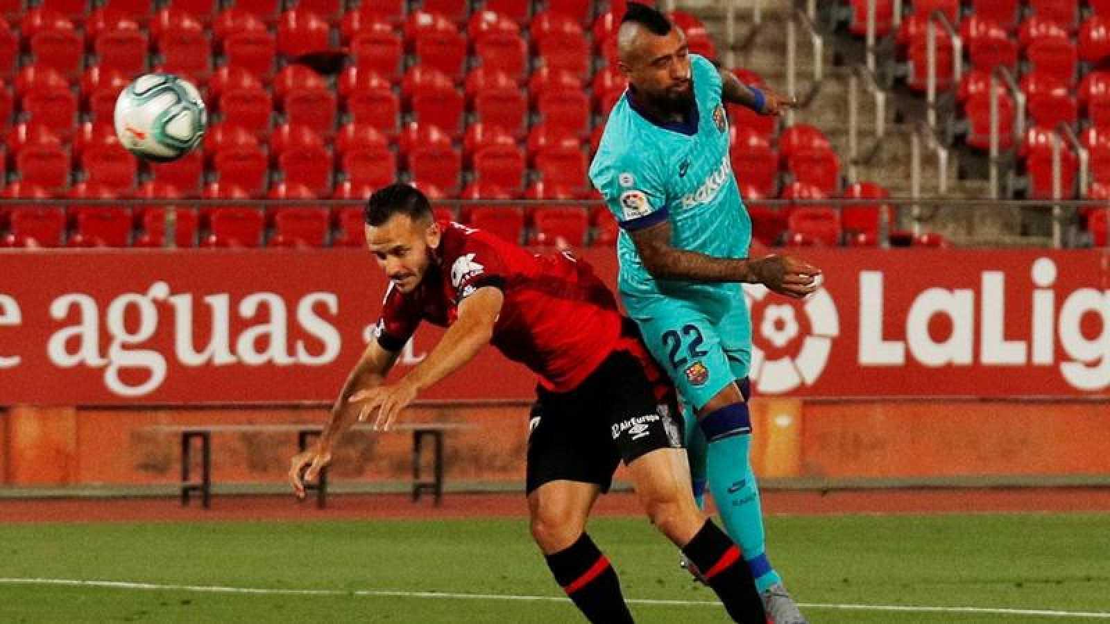 Vidal, en el remate del 0-1 del Barça en Mallorca.