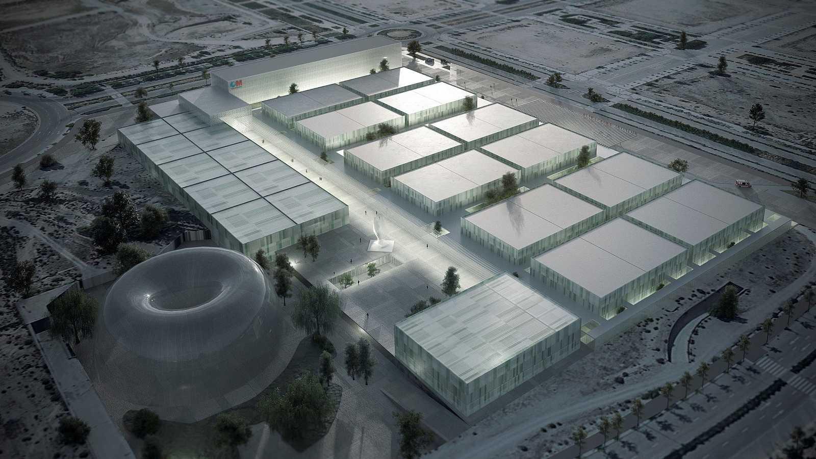 Maqueta del nuevo Hospital de Emergencias, que se construirá en Valdebebas, junto al Aeropuerto de Barajas.