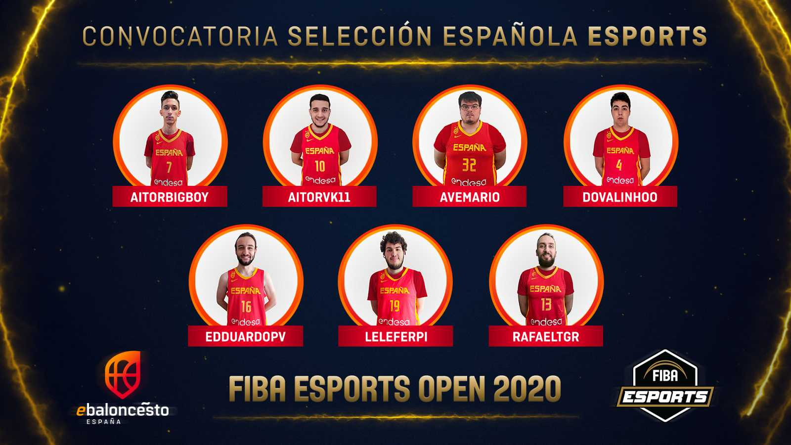 Imagen de la primera convocatoria de la selección española de NBA 2K