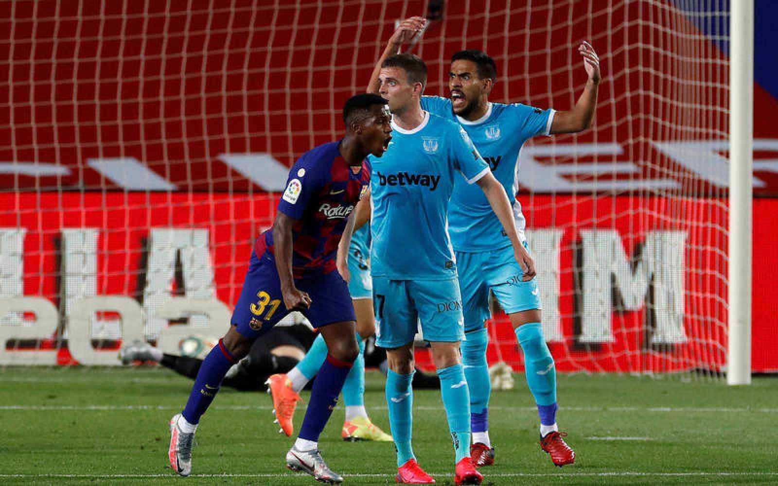 Ansu Fati celebra su gol ante el Leganés
