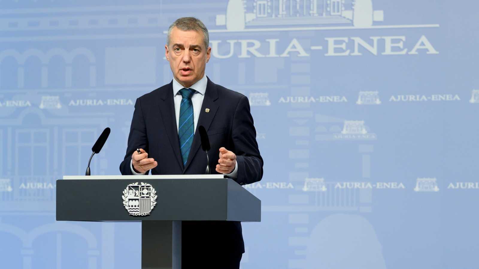 El lehendakari, Iñigo Urkullu, en una comparecencia ante la prensa
