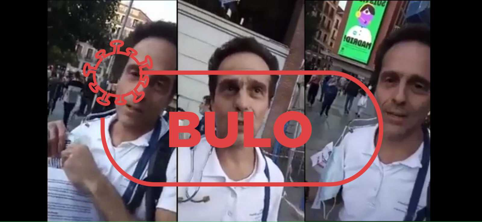 Tres capturas del vídeo con el médico de Formentera y la palabra bulo en rojo.