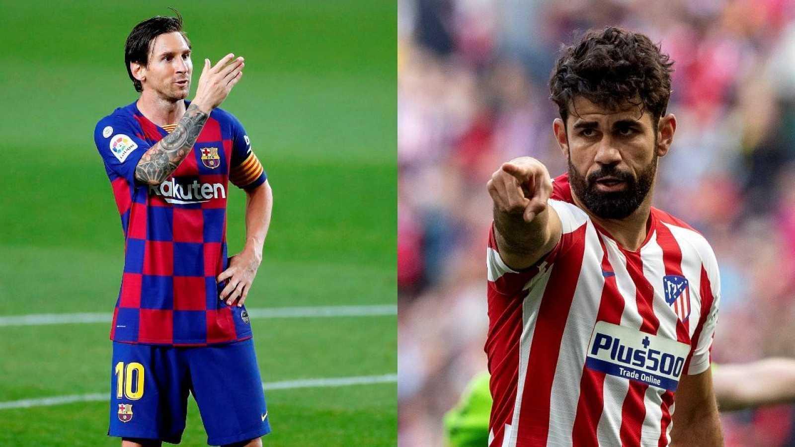 El capitán del FC Barcelona, Leo Messi (i) y el jugador rojiblanco, Diego Costa (d)