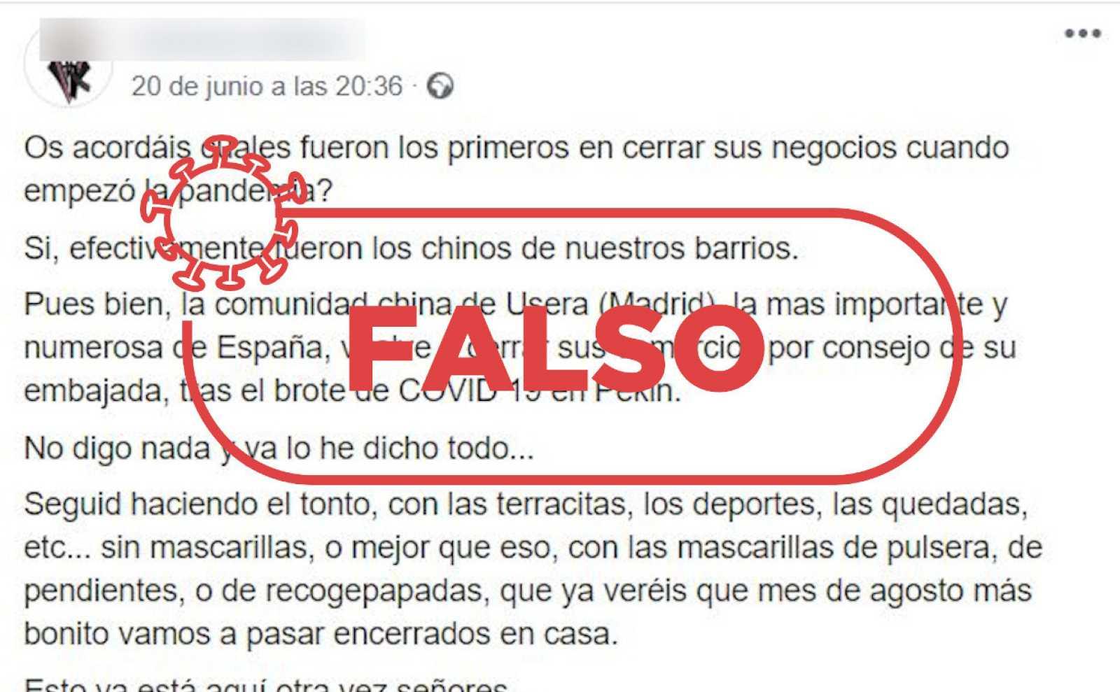 Captura con una parte del mensaje falso difundido a través de redes sociales y mensajería móvil con la palabra FALSO.
