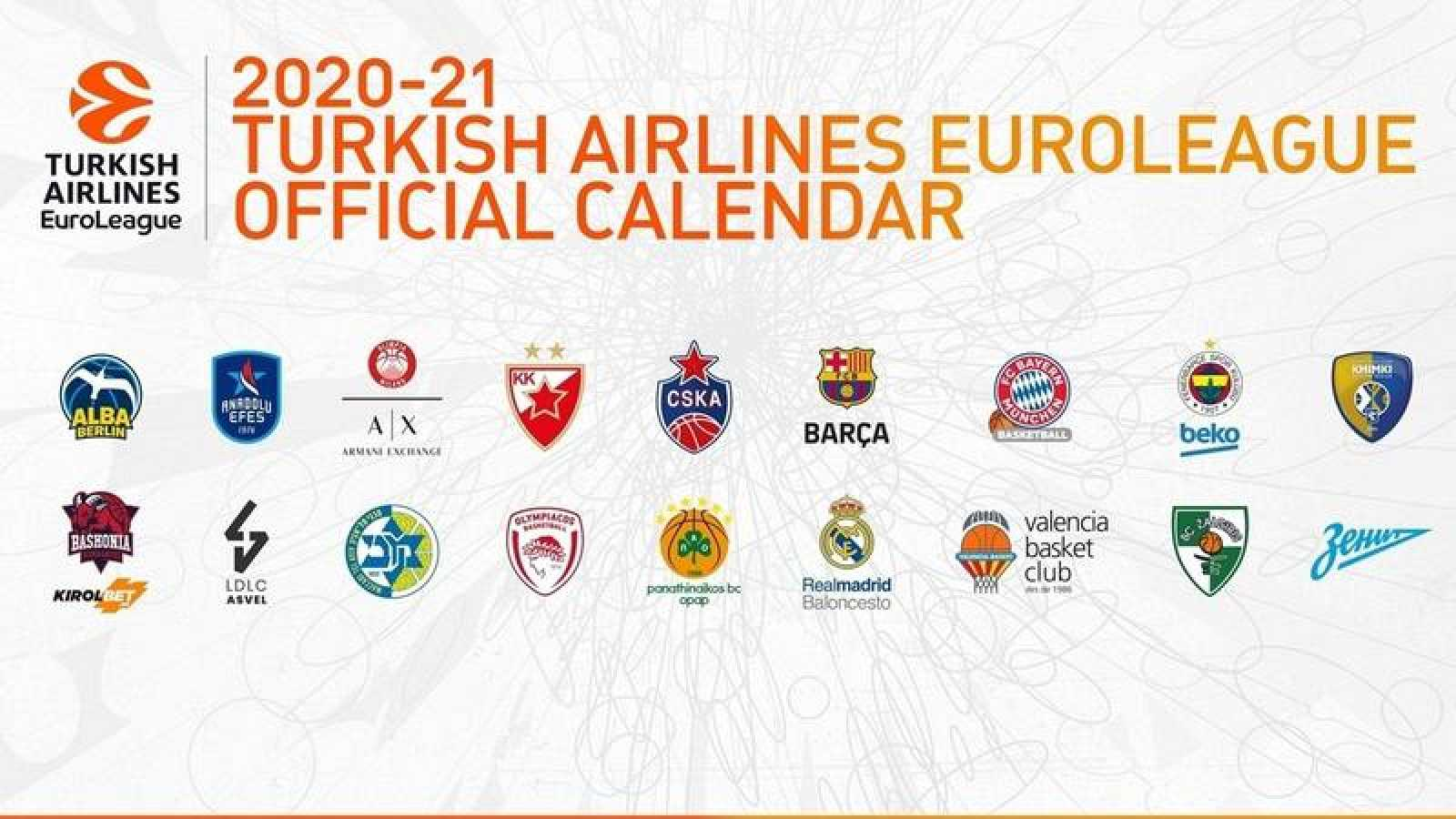 Imagen con los escudos de los 18 equipos que participarán en la Euroliga 2020-2021.
