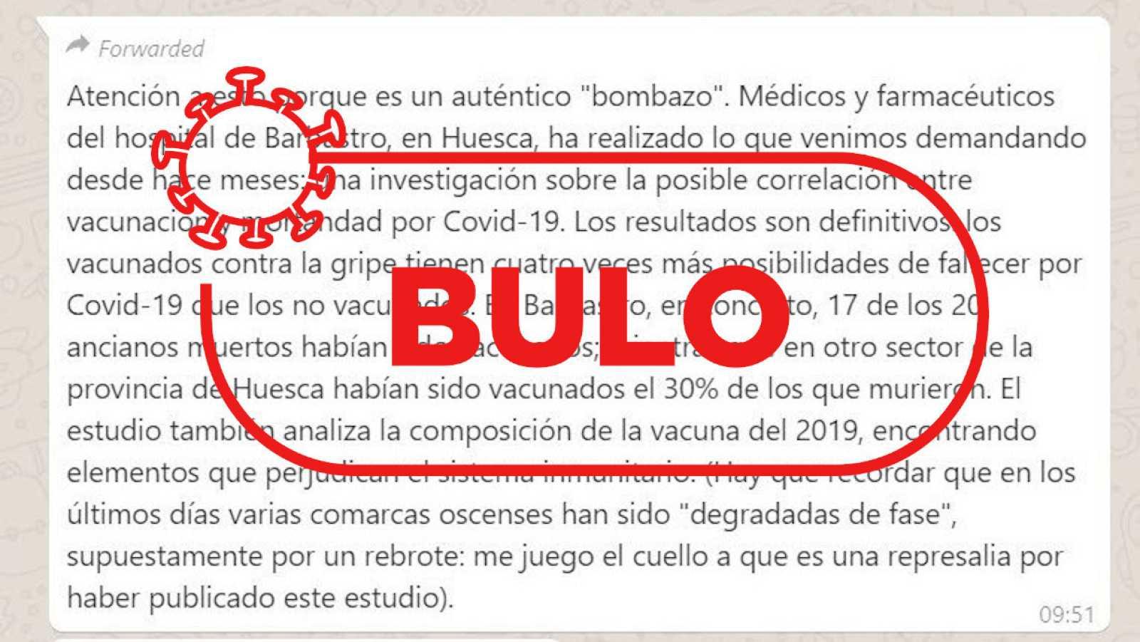 Detalle del mensaje con el bulo recibido en el WhatsApp de Verifica RTVE y la palabra bulo en rojo.